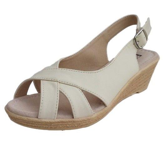 Дамски сандали EZEL в екрю, със стелка от естествена кожа